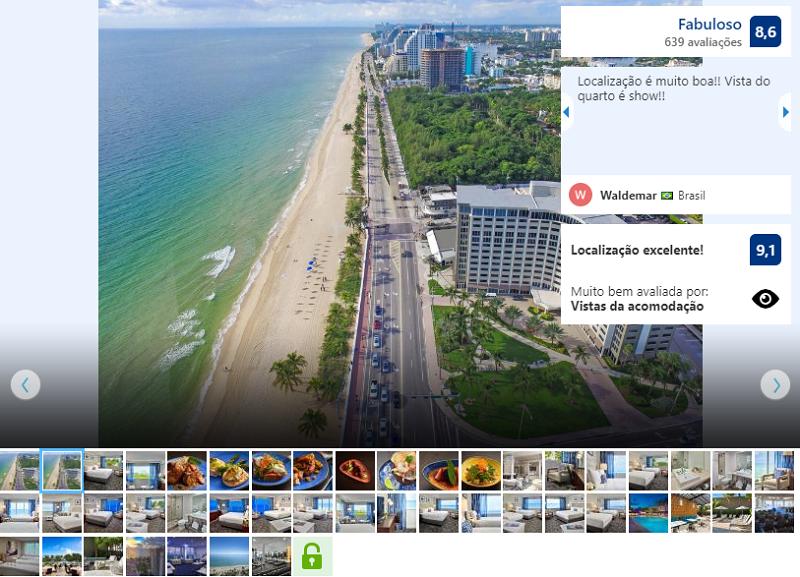 Hotel Sonesta em Miami visto de cima